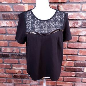 NWT ASTR Black Lace Trim Shore Sleeve Blouse